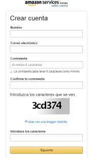 crear cuenta en Amazon seller